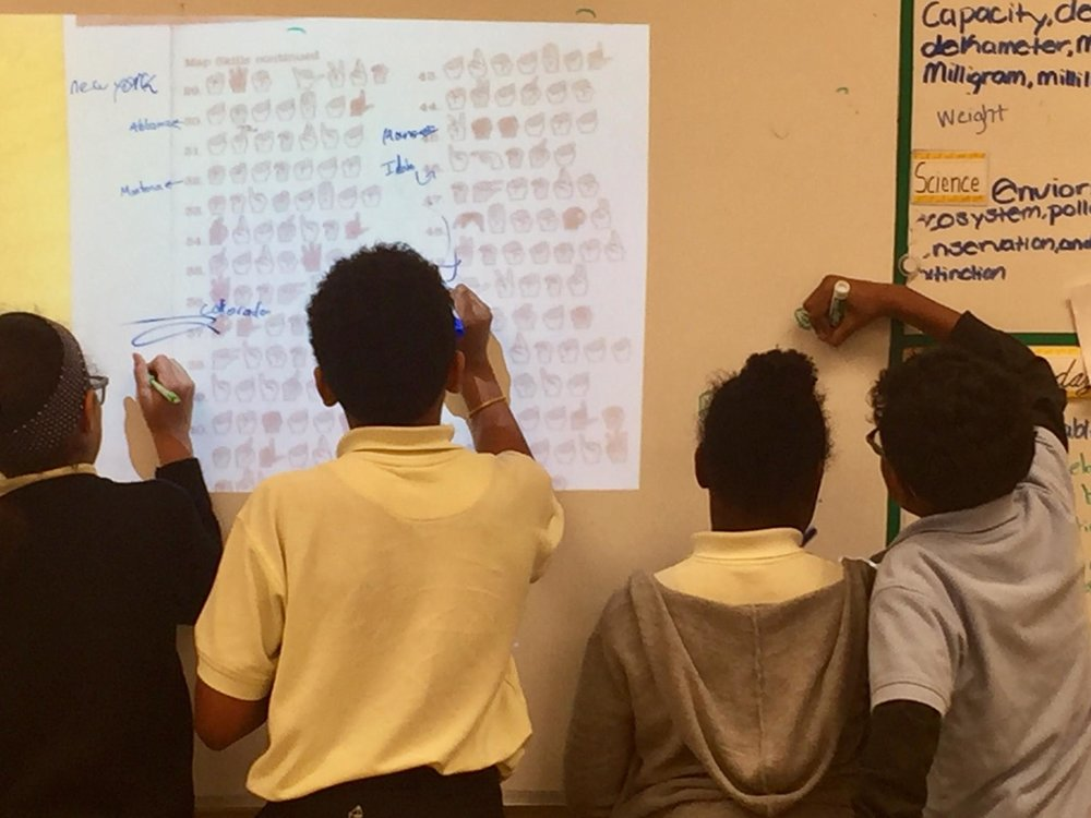 - In our club we work with our students on their receptive receptive sign skills. In this photo the students are working on a fun, fingerspelling word scramble game, of the United States