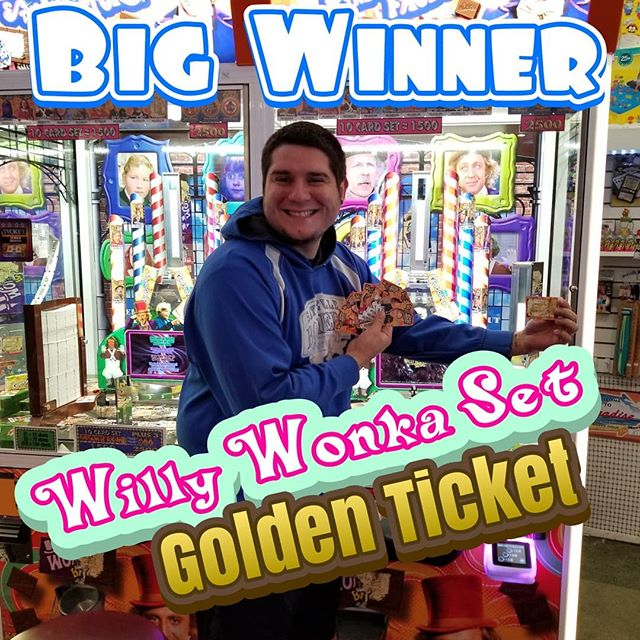 He got a Golden Ticket!!! Another Willy Wonka Set winner at #EdsFuncade. More Winners More Jackpots Cheapest Cranes. summer #wildwood #nj #jerseyshore #boardwalk #giveaway #drawing #beach #skeeball #arcade #theshore #winner #eds #jackpot #wonka #willywonka