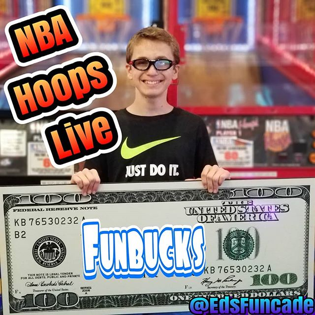 Congratulations to  our Friday Night winner @edsfuncade NBA Hoops Live Tournament. Your chance every Friday night in July and August, qualify 6pm-9pm. See you next week #summer #wildwood #nj #jerseyshore #boardwalk #giveaway #drawing #beach #skeeball #arcade #theshore #winner #eds #jackpot #wonka #willywonka #nba #tournament