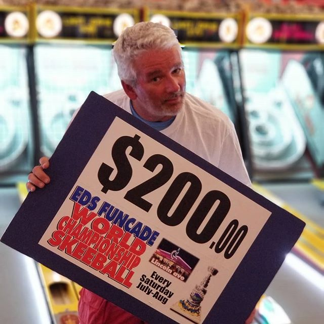 Congrats to Peter (Doug) on another win $200 of Ed's money just for playing Skeeball. Get your chance every Saturday Night in July & August.  Win $1000.00visa and Eds Boardwalk cup Saturday Night Labor Day Weekend.  #summer #wildwood #nj #jerseyshore #boardwalk #giveaway #drawing #beach #skeeball #arcade #theshore #winner #eds #jackpot #wonka #willywonka #champion #championship #wildwood #wildwood365