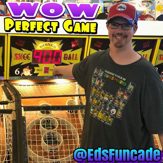 Go Michael! A perfect game on Skeeball  9 Hundreds in a row @edsfuncade #perfectgame #highscore #summer #wildwood #nj #jerseyshore #boardwalk #giveaway #drawing #beach #skeeball #arcade #theshore #winner #eds #jackpot #wonka #willywonka