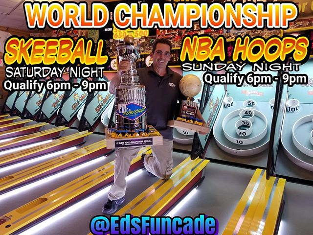 It's that time again. Wildwoods official World Championship Skeeball & NBA Hoops Live Tournaments every Labor Day Weekend @edsfuncade Lincoln Ave location.  Saturday - Skeeball 6pm-9pm Qualify Top 12 play immediately after  Sunday - NBA Hoops 6pm-9pm Qualify Top 12 play immediately after