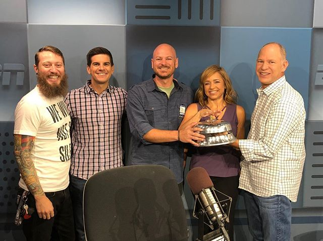 Amazing day visiting @espn and the Fantasy Focus podcast. Many thanks to @somethingtobreak @matthewberrytmr @stephaniab87 @fieldyates for their hospitality! These guys put in a ton of work to make a silly game we play a whole lot of fun. I've been playing fantasy football for 18 years and more than half of it has been listening to this podcast. Life can be hard. Life can be fun. There are many escapes and fantasy football is mine. It's strategy, competition and camaraderie. It's been a treat and a pleasure to spend it with them. • • • #espn #fantasyfocus #podcast #fantasyfootball