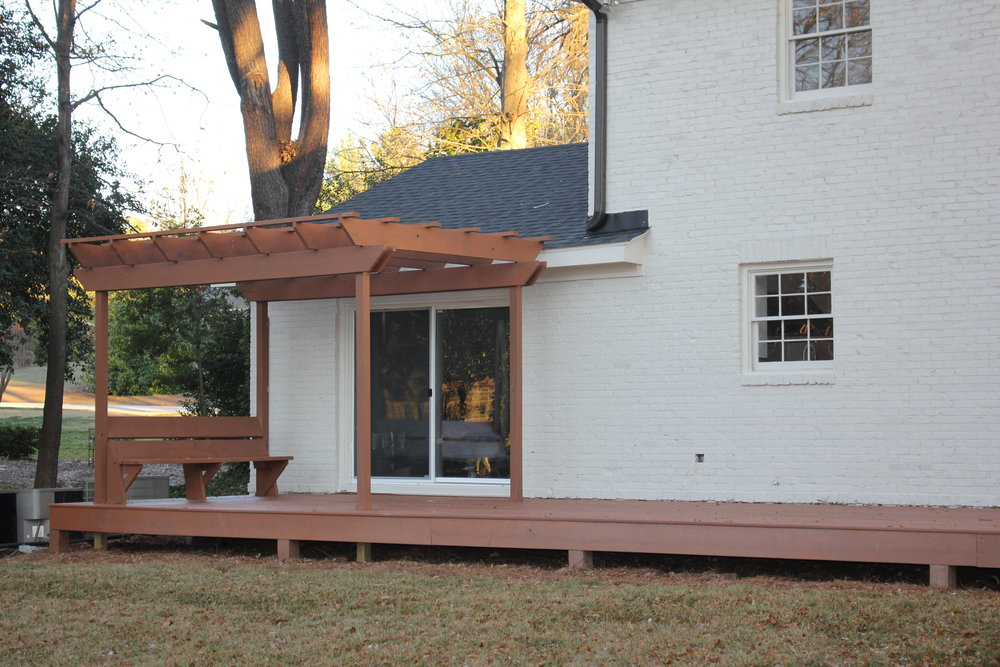 CUSTOM DECK WITH PERGOLA AND NO MORE AWNINGS- WOOHOO!!