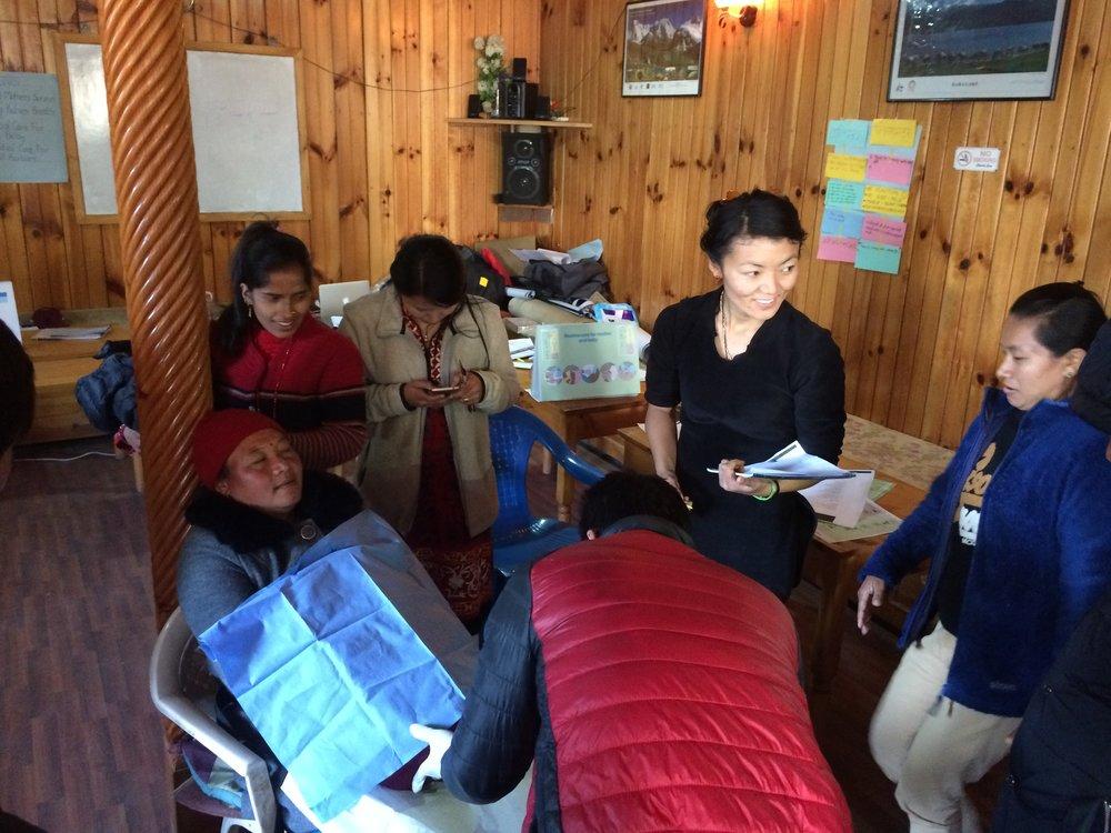 Ang Jangmu (Anji) teaching a course in postpartum hemorrhage management.