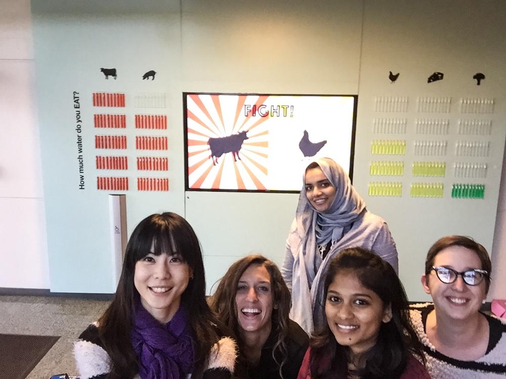 The team. Left to Right: Tieni Wu (Lighting Designer), Megan Johnston (Fashion Designer), Asma AlDabal (Exhibition Designer), Nikitaa Sivaakumar (Product Designer), Victoria Baird (Exhibition Designer)