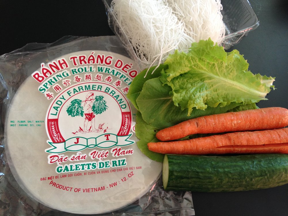 Some of the ingredients you'll need for this homemade fresh spring roll recipe.