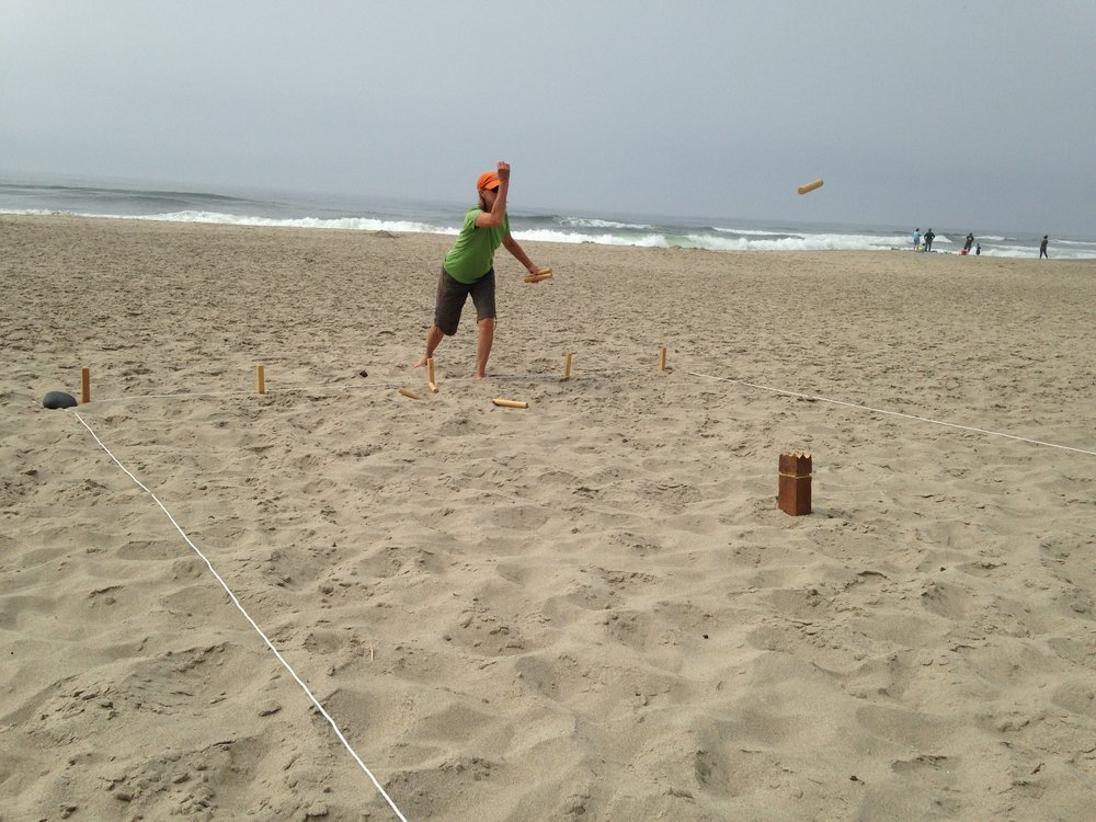 Kubb is one of our longstanding beach games. My brother made this set himself, and we love it!