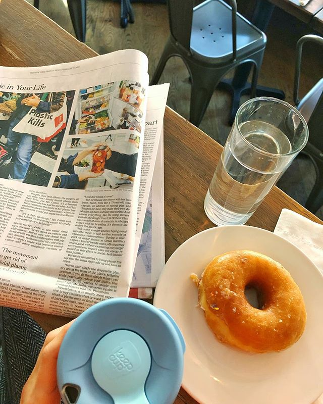New favorite breakfast and coffee spot. ☕️ 🍩 ☺️ Also it's funny my KeepCup is in this shot with a Times story about reducing single-use plastic. Didn't even plan it man. ✌️#brunchnyc #coffeeanddonuts #clocafe #eastwilliamsburg #keepcup #plasticfreeliving #nytimes #☕️ #🍩