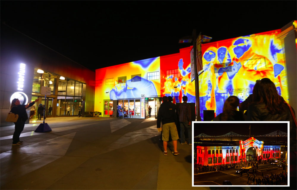 Thermal mirror(cameras) capturing passers by - color remapped to facade performance