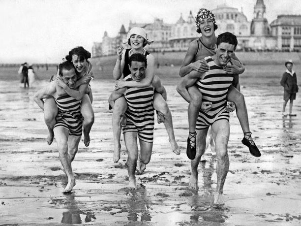 We love stripes for days on this crew! We think there's no such thing as too many when they look this fun! . . . #beach #vintagebathingsuit #vintage #vintageswimsuit #vintageclothing #vintagefashion #vintagestyle #pinup