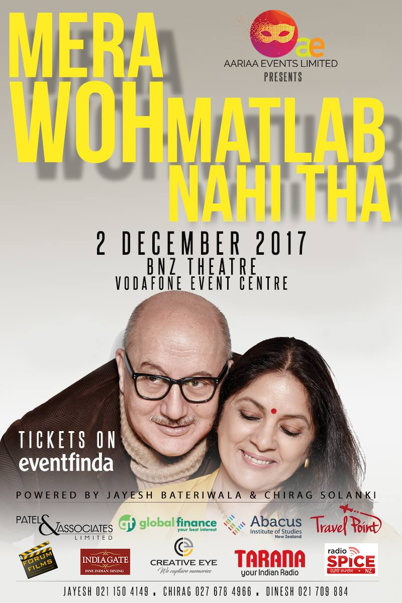 - Aariaa Events proudly present Mera Woh Matlab Nahi Tha LIVE (Theatrical Play) in Auckland, starring Anupam Kher and Neena Gupta, directed and written by Rakesh Bedi.One of Bollywood's most versatile and talented actors, Anupam Kher's most-talked about play Mera Woh Matlab Nahin Tha tells the story of a man, his struggles and his love.A play not to be missed.