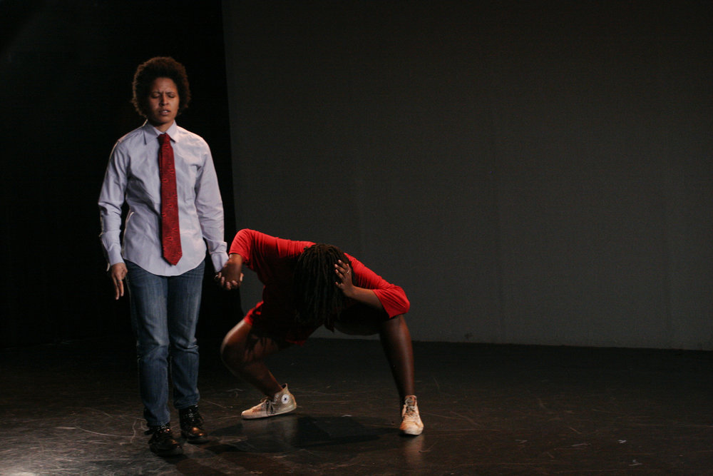"Nia and Ness perform ""Blind Spot."" Photo by Elisa Gutierrez"