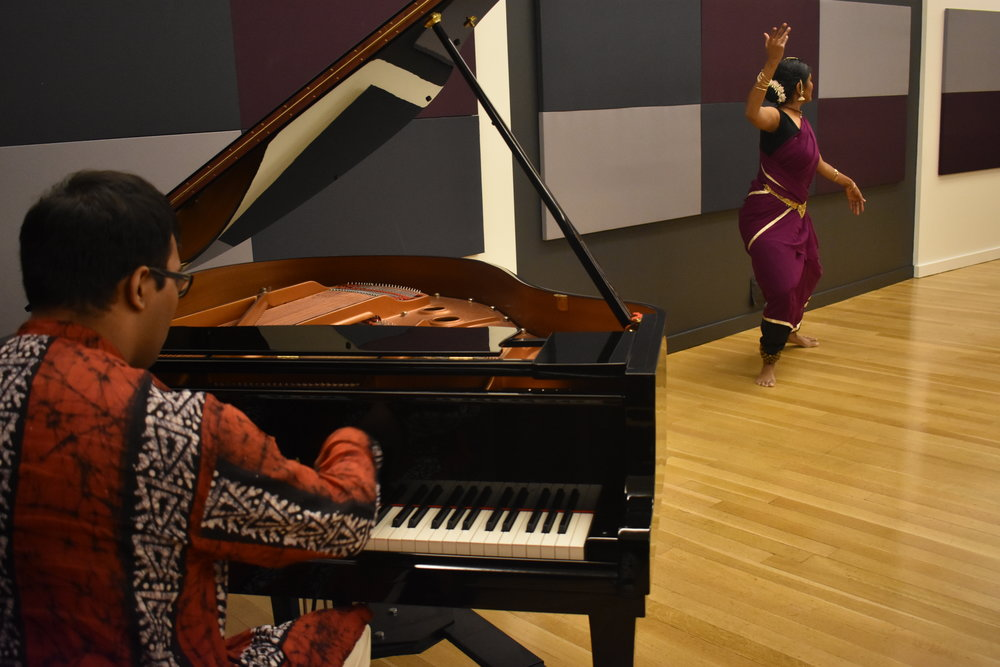 Dancer and M.D. candidate Shilpa Darivemula and pianist and M.D. candidate Arhant Rao. Photo by Mollie Block
