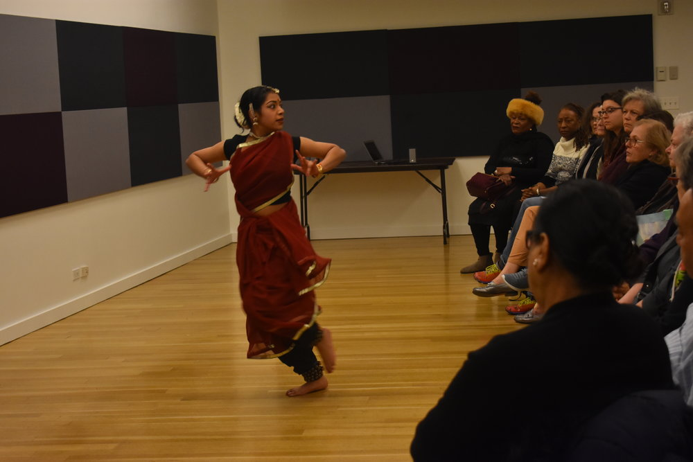 Dancer Supraja Chittari performs a piece exploring the hidden addictions of some health care providers - and the taboo against discussing this issue. Photo by Mollie Block