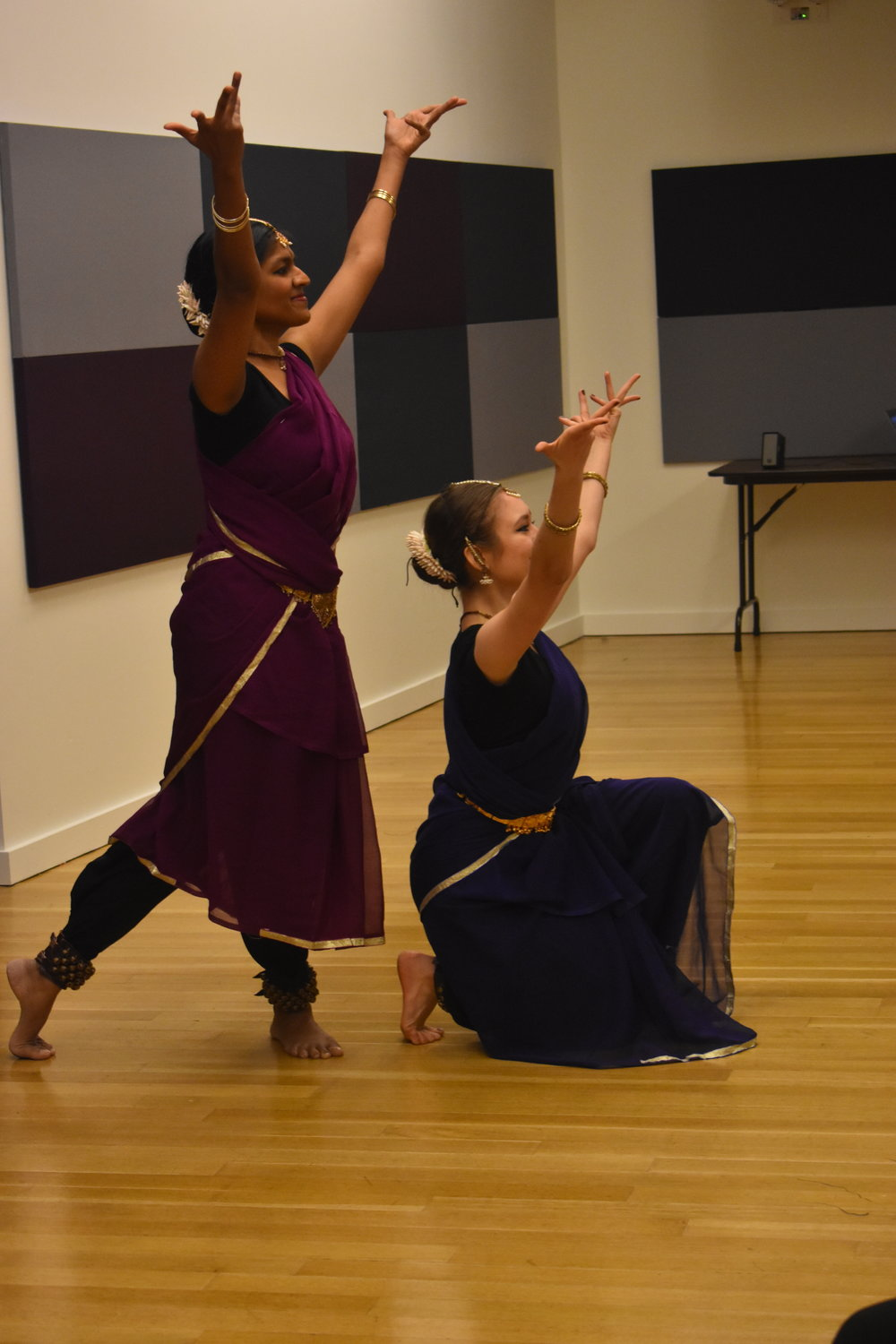 Sophia Salingaros and Shilpa Darivemula perform Tara's (Dis) Ability, an exploration of how in illness, body parts fall out of harmony. Photo by Mollie Block