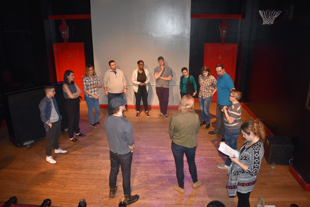 The actors prepare for the improv before house open. Photo by Layla Zami