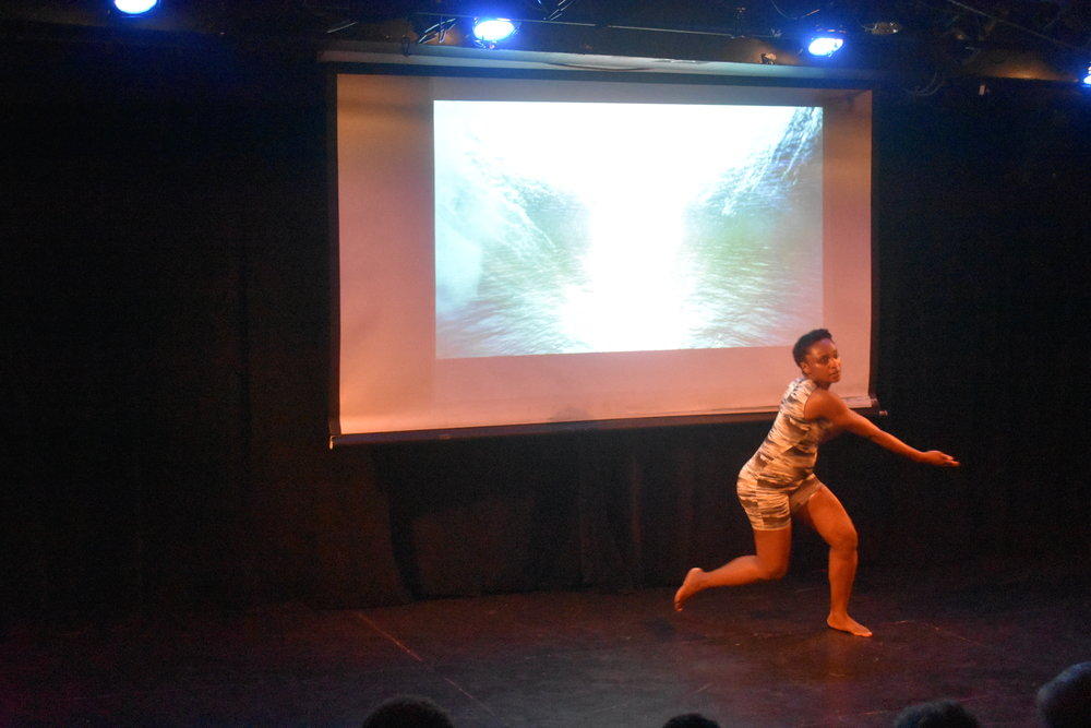 "Davalois Fearon interpreting ""Water.""  Photo by Mollie Block"