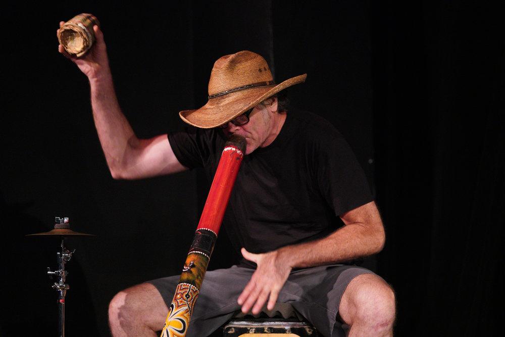 """Muti-instrumentalist Marc Mueller, aka """"StreetMule."""" Photo by Steven Pisano"""