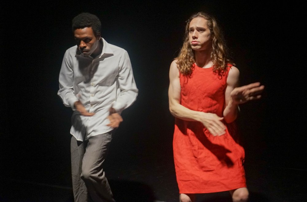 Experimental Theater Group, Theatre Of War Reconstructs Amiri Baraka's Scathing Racial Diatribe, Dutchman, with Jonathan Schenk (Lula) and Malcolm B. Hines (Clay).