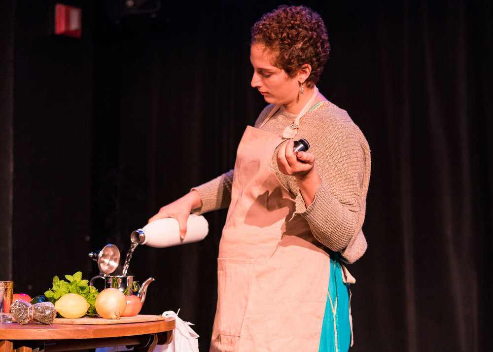 Hannah Goldman introduced the Arab Jewish woman through story-telling and food.  Photo by Steven Pisano