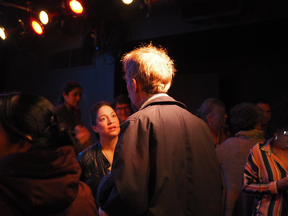 Actress Valeria Avina talks with an audience member after the event. Photo by Oxana Chi