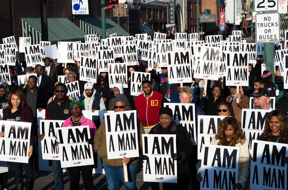 Union members holding I Am A Man signs at MLK 50 rally on April 4.   Photo credits: Sydney Matzko