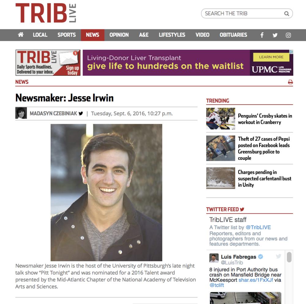 Trib Newsmaker:Jesse Irwin - Pittsburgh Tribune-Review