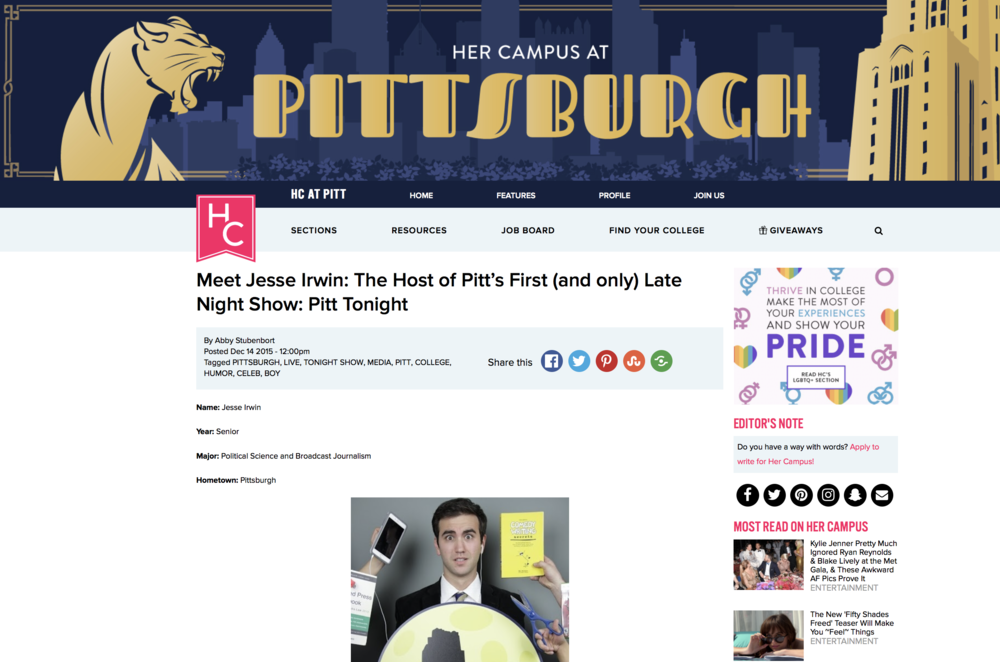 Meet Jesse Irwin: The Host of Pitt's First (and ONly) late night show: Pitt Tonight - HerCampus