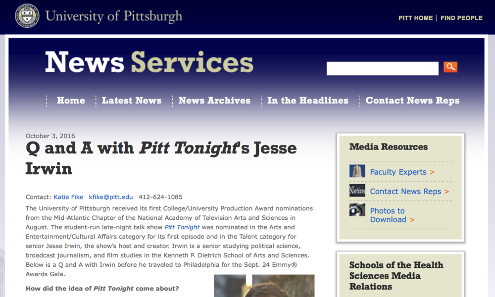 Q&A withpitt tonight'sjesse irwin - University of Pittsburgh News Services