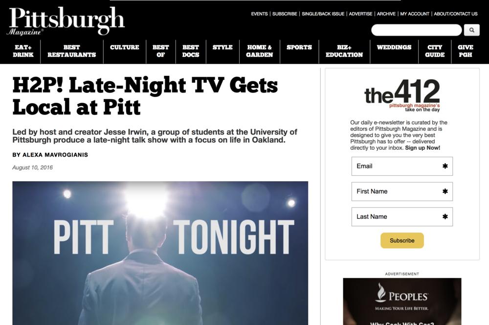H2p! Late-night tv gets local at Pitt - Pittsburgh Magazine