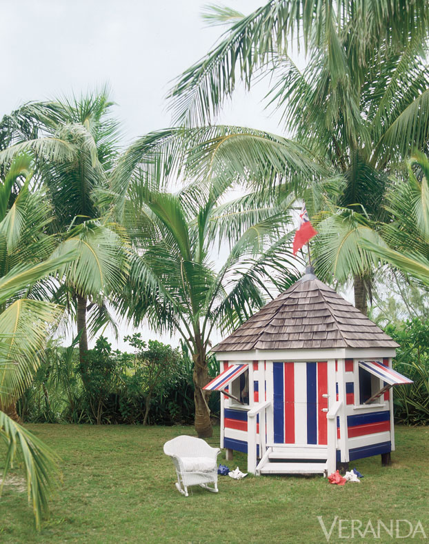 IH Wendy house in red, white and blue Union Jack Veranda