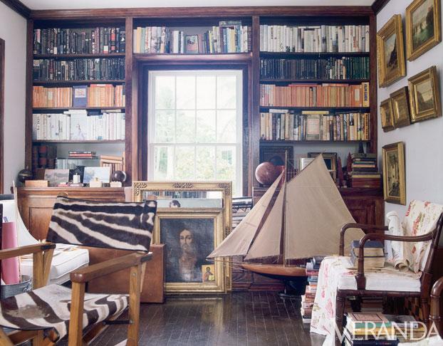 IH his study Veranda
