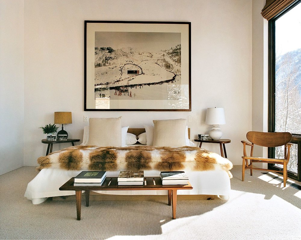 Aerin Lauder's Master Bedroom in Aspen. It's amazing what a fabulous fur can do…regardless, it's still about the view of the natural world.