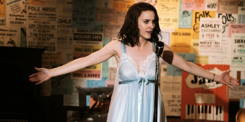 Miriam Maisel (played by Rachel Broshanan) performing the impromptu stand up set that inadvertently launches her career. Image Courtesy of Amazon