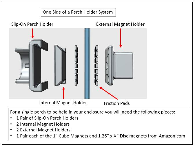 slip-on magnetic perch holder pair (holders only)((glass or plastic  enclosures)) — specialty enclosure designs