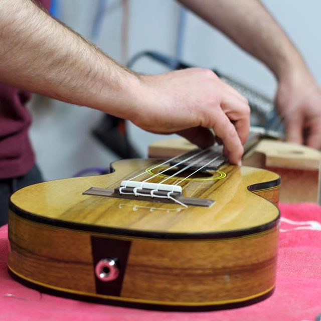 Ukulele Building Workshop - Learn to construct your own ukulele from scratch!Ukulele Type: TenorWood and Parts Selection:Body: Sapele, Spanish Cedar, or Walnut (Upgrades Available for additional cost)Fretboard: Wenge or EbonyNut and Saddle: BoneTuners: Chrome, Black or GoldDuration of Course : 1 weekHours: 10am-4pmOPTION 1- 7 Day $2,250 + GST (French Polish Finish)Option 2 - 10 DAY $2,800 + Got (Gloss Finish)All materials included in the program fee