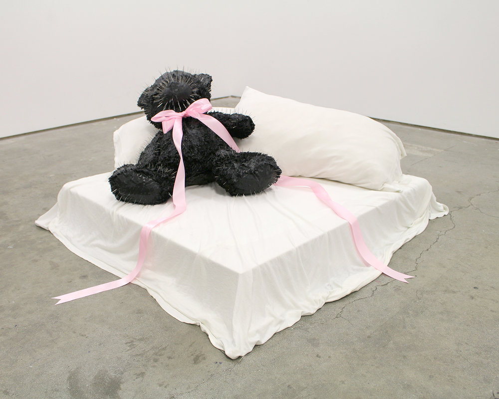 "Love me! Love Me! , stuffed bear, acrylic paint, 1200+ sewing pins, bed sheets, pillows, satin,  31"" x 31"""