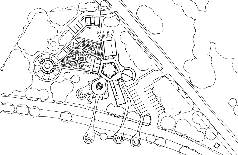 Site Plan: Set at the edge of White Bear Lake, the Center extends arms out into the lake with campfire circles at the end of each one. In addition to being used for the moon lab educational program, the circles are also used for the monthly storytelling events. The earth lab organic healing garden sits adjacent to the building, and the circular kennel for Will Steger's sled dogs sits just to the west of the garden. A small guest house is located toward the north edge of the site..