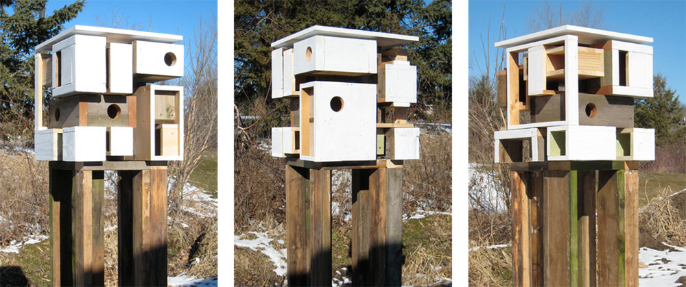 Three views of the birdhouse