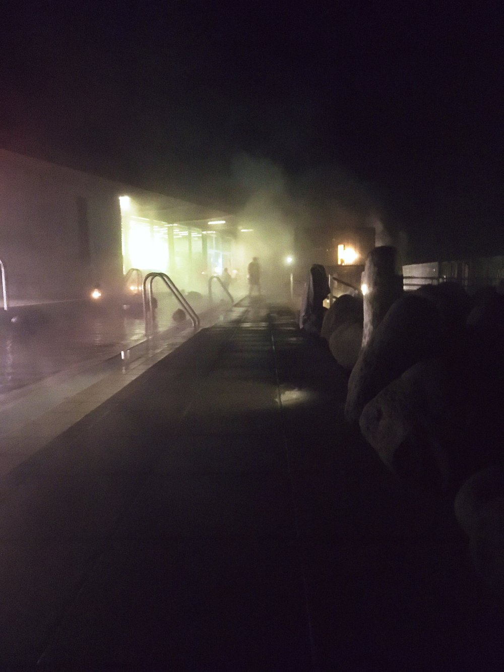 The hot spring at Fontana in Iceland at night.