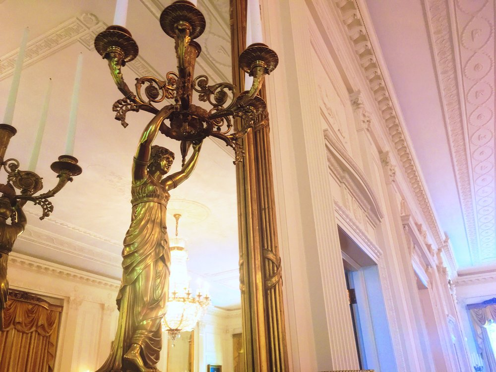 A detail of a candelabra in the East Room of the White House.