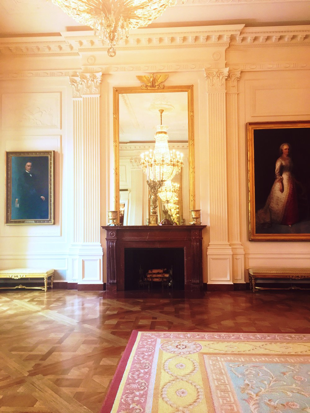 Portraits and finery in the East Room of the White House.