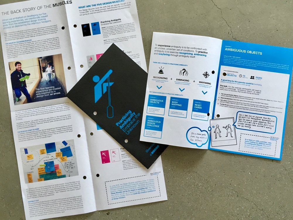 A snapshot featuring Practicing Ambiguity, as part of The Design Muscles booklets, designed and created in collaboration with my fellow Fellows, Hannah Jones and Andrea Small.