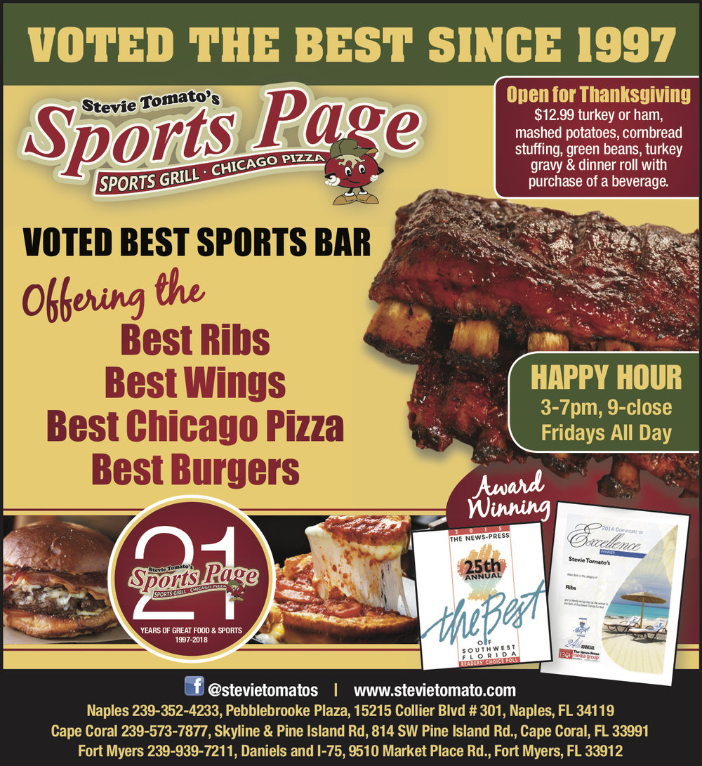 Award Winning!Best Ribs• Best Wings• Best Chicago Pizza• Best Burgers -