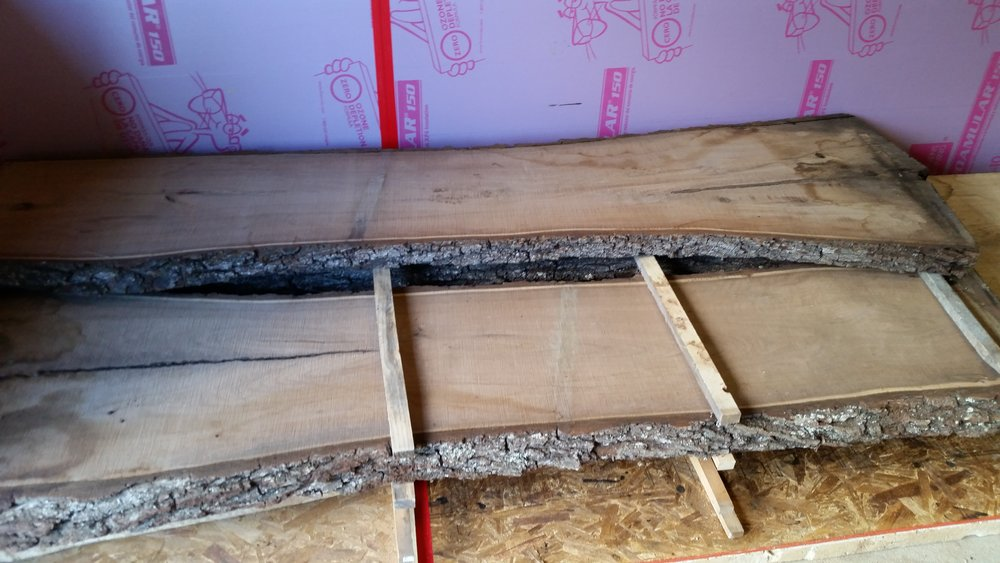"""Slabs being """"stickered"""" in our new small kiln!"""