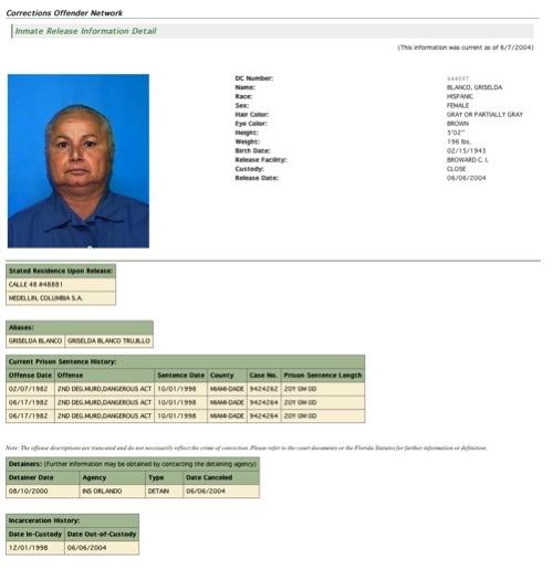 Griselda's Inmate Release Detail –  Source