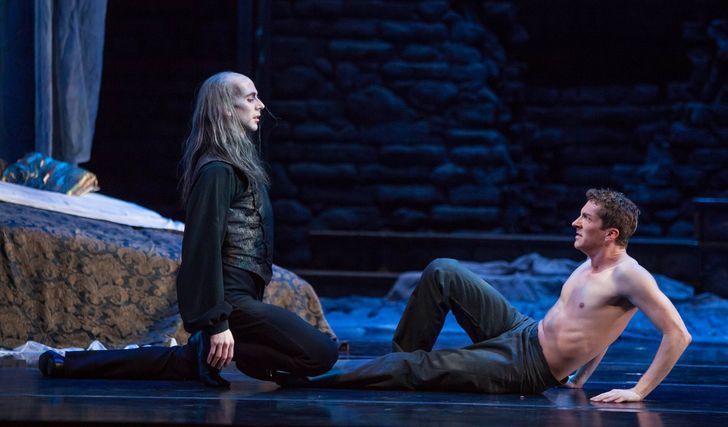 Atlanta Ballet's 2013 production of Dracula. Dracula and Harker meet.  –   Source