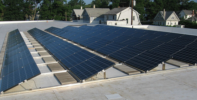 A solar panel incorporated into residential or low lying structures. –   Source
