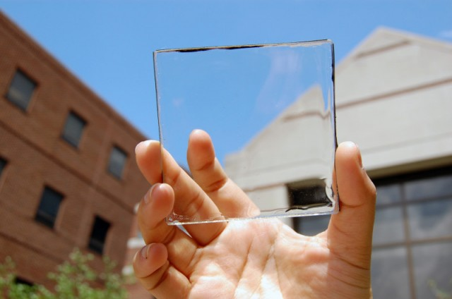 An example of a transparent solar cell. –   Source